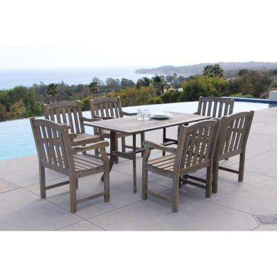 Renaissance Acacia 7-Piece Patio Dining Set with 35 in. W Table and Arched Slat-Back Armchairs