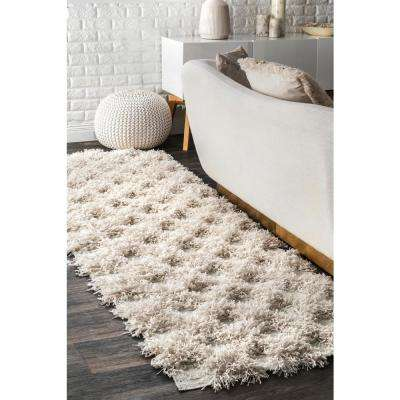 Francene Diamond Trellis Shaggy Ivory 3 ft. x 10 ft. Runner Rug