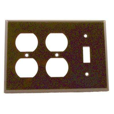 3-Gang 1-Toggle 2-Duplex Receptacles Standard Size Plastic Combination Wallplate, Brown
