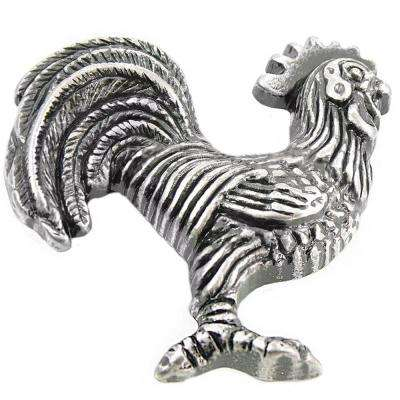 2.25 in. Antique Silver Left Cabinet/Right Facing Rooster Knob