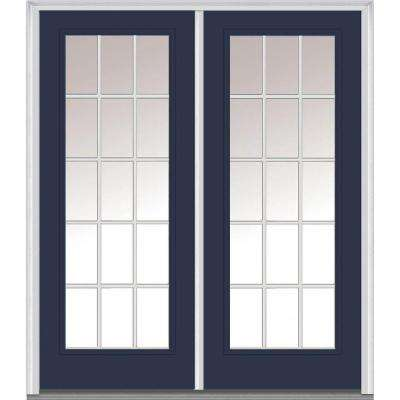 64 in. x 80 in. Grilles Between Glass Right-Hand Full Lite Classic Painted Steel Prehung Front Door