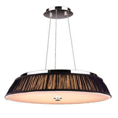 Alice Collection 12-Light Polished Chrome with Black Shade LED Pendant