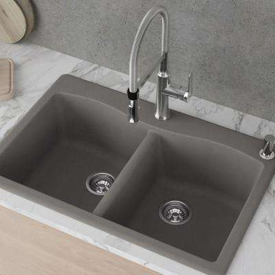 Forteza All-in-One Drop-In/Undermount Granite Composite 33 in. 1-Hole 50/50 Double Bowl Kitchen Sink in Grey