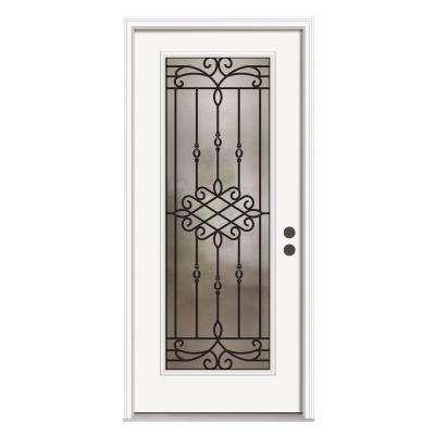 Sanibel Full Lite Primed White Steel Prehung Front Door with Brickmold