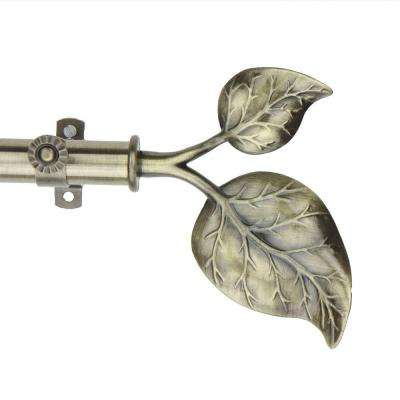 Telescoping Curtain Rod Kit In Antique Brass With Ivy