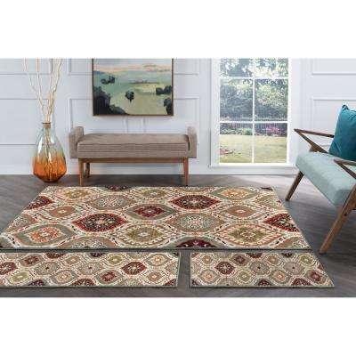 Deco Multi-Color 5 ft. x 7 ft. Geometric 3-Piece Rug Set