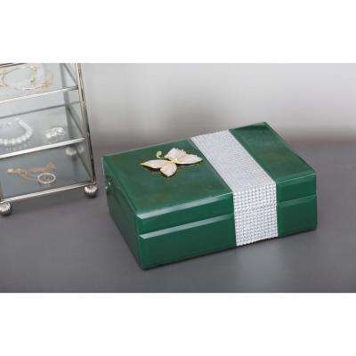 Jewelry Box with Gold Butterfly Sculpture in Dark Green