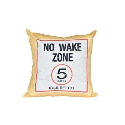 16 in. x 16 in. Yellow No Wake Word Print Pillow