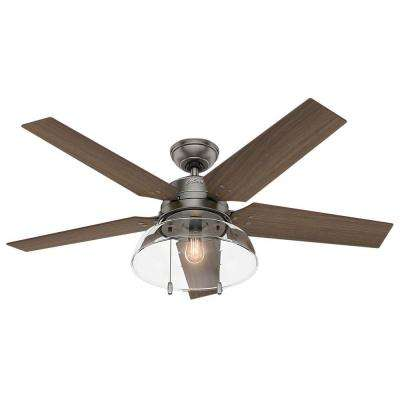 Lindbeck 52 in. LED Indoor/Outdoor Brushed Slate Ceiling Fan with Light