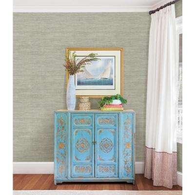 Island Grey Faux Grasscloth Wallpaper