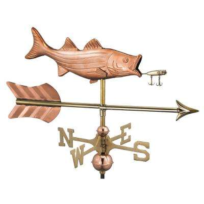 Bass with Lure and Arrow Cottage Weathervane-Pure Copper with Roof Mount