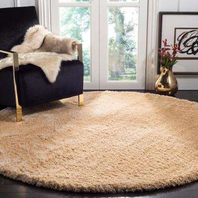 Colorado Shag Champagne 6 ft. 7 in. x 6 ft. 7 in. Round Area Rug