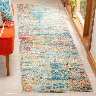 Monaco Teal/Orange 2 ft. 2 in. x 8 ft. Runner Rug