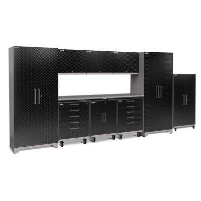 Performance Plus Diamond Plate 2.0 80 in. H x 189 in. W x 24 in. D Garage Cabinet Set in Black (10-Piece)