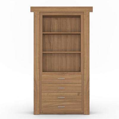 30 in. x 80 in. Flush Mount Assembled Dresser Door Cherry Natural Stained Left-Hand Outswing