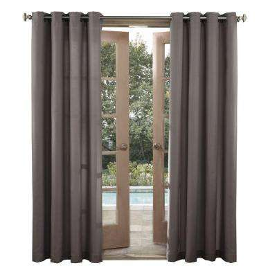 Birmingham 52 in. by 95 in. Grey Indoor/Outdoor Woven Solid Window Curtain (Price Varies by Size)