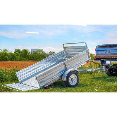 1639 lbs. Payload Capacity 4.5 ft. x 7.5 ft. Galvanized Steel Utility Trailer with Bed Tilt and Collapsing Ends