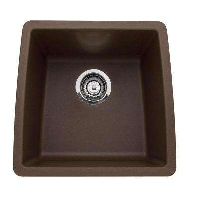 PERFORMA Undermount Composite 17 in. Single Bowl Bar Sink in Cafe Brown