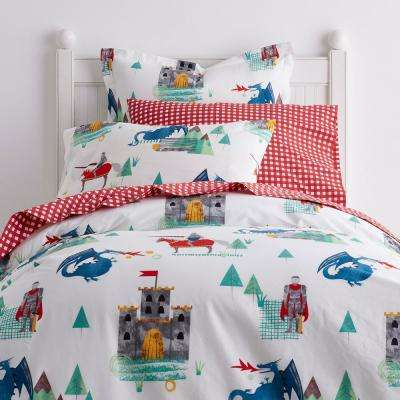 Knights and Dragons Cotton Percale Duvet Cover