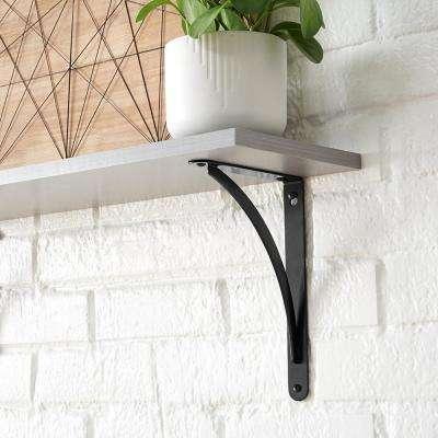 6.5 in. x 9 in. Black Cove Arch Decorative Shelf Bracket