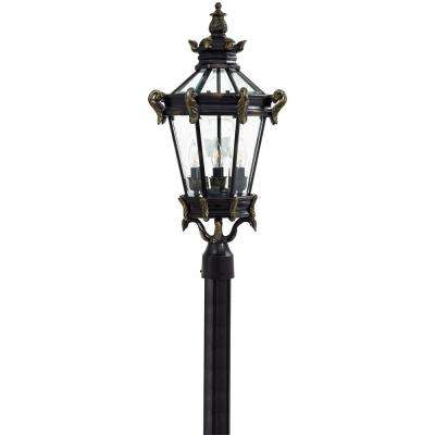 Stratford Hall 4-Light Outdoor Heritage Post Mount with Gold Highlights