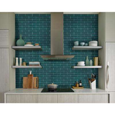 Verde Azul Beveled 2.5 in. x 9 in. x 8mm Glass Wall Tile (5.6 sq. ft. / case)