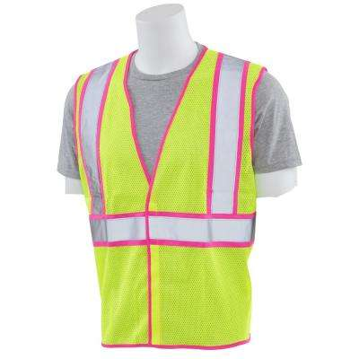 S730 Large Class 2 Unisex Vest in Hi-Viz Lime Mesh with Pink Trim