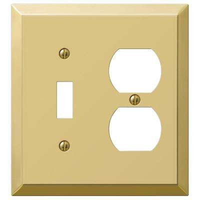 Century Steel 1 Toggle 1 Duplex Combination Wall Plate - Brass