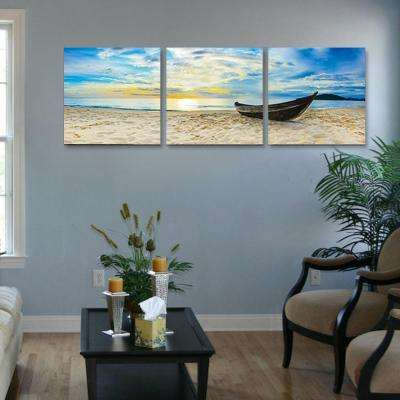 "16 in. x 48 in. ""Fishing at Sunset"" Printed Wall Art"