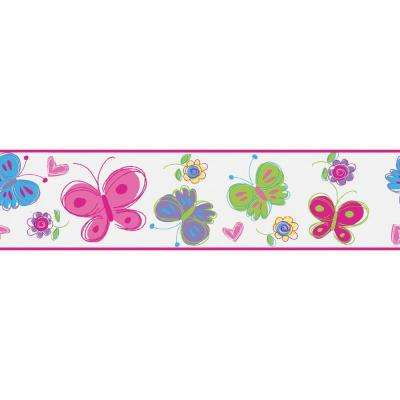 6 in. W x 10 in. H Butterfly Garden Pink Border Sample