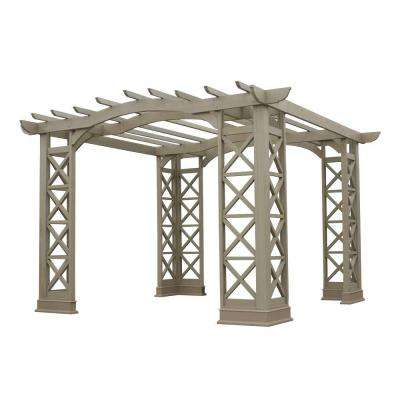 Arched Roof Grey with Plinth Cedar 12 ft. x 12 ft. Pergola