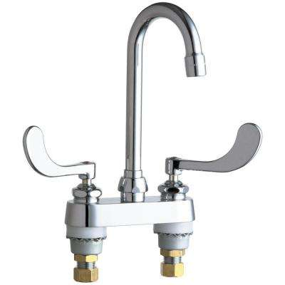 Hot and Cold Water 4 in. 2-Handle Bathroom Faucet in Chrome