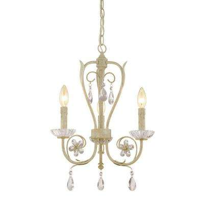 3-Light Antique White Candle Chandelier