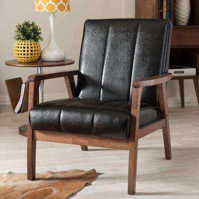 Nikko Scandinavian Black Faux Leather Upholstered Accent Chair