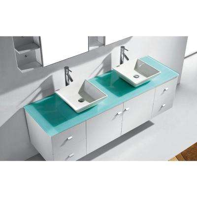 Clarissa 72 in. W Bath Vanity in White with Glass Vanity Top in Aqua with Square Basin and Mirror and Faucet