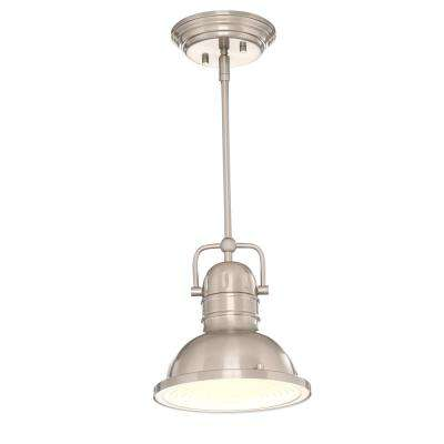 Boswell 1-Light Brushed Nickel Mini Pendant with LED Bulb