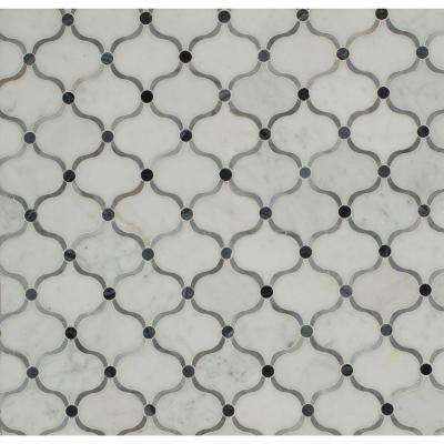 Steppe Eastern Carrera Polished Marble Waterjet Mosaic Floor and Wall Tile - 3 in. x 6 in. Tile Sample