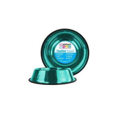 1.25 Cup Embossed Non-Tip Stainless Steel Dog/Cat Bowl, Caribbean Teal