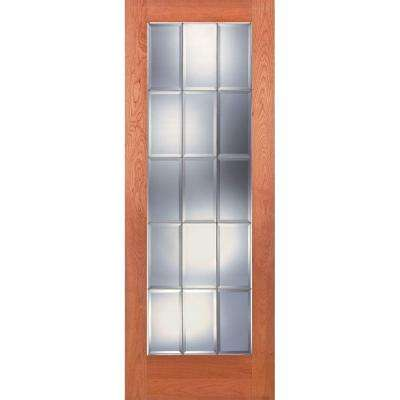 15 Lite Clear Bevel Zinc Woodgrain Unfinished Cherry Interior Door Slab