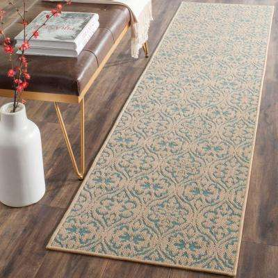 Palm Beach Natural/Turquoise 2 ft. x 8 ft. Runner Rug