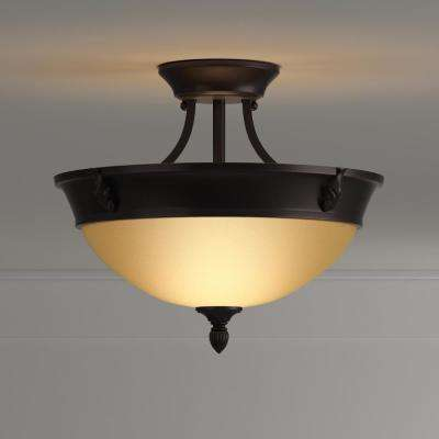 15 in. 2-Light Oil-Rubbed Bronze Semi-Flush Mount with Tea Stained Glass Shade