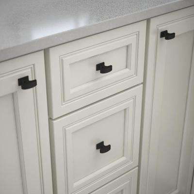 Handle Kitchen Cupboard WHITE Oblong Stone Knob x 1 with Gold Detail Feature