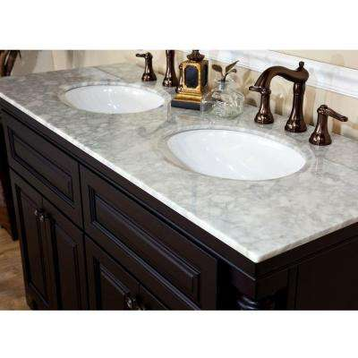 Parma 55 in. Double Vanity in Dark Mahogany with Marble Vanity Top in White
