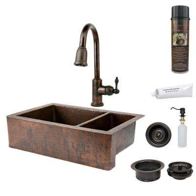 All-in-One Undermount Hammered Copper 33 in. 0-Hole 75/25 Double Bowl Kitchen Sink in Oil Rubbed Bronze