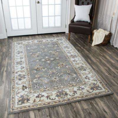 Valintino Grey Border Hand Tufted Wool 8 ft. x 10 ft. Area Rug