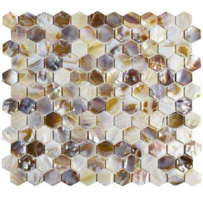 Conchella Hexagon Natural 10-7/8 in. x 11-1/2 in. x 3 mm Natural Seashell Mosaic Tile
