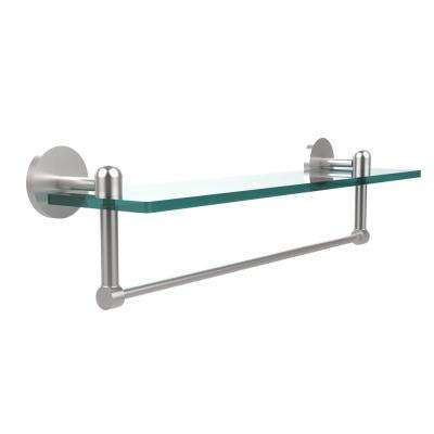 Tango Collection 22 in. Glass Vanity Shelf with Integrated Towel Bar in Satin Chrome