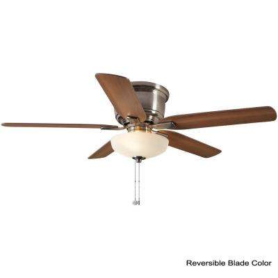 Holly Springs Low Profile 52 in. LED Indoor Brushed Nickel Ceiling Fan with Light Kit