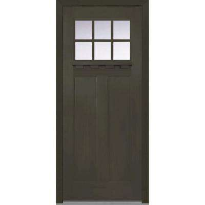 37.5 in. x 81.75 in. Classic Clear Glass 6 Lite Craftsman Finished Fir Fiberglass Exterior Door with Dentil Shelf