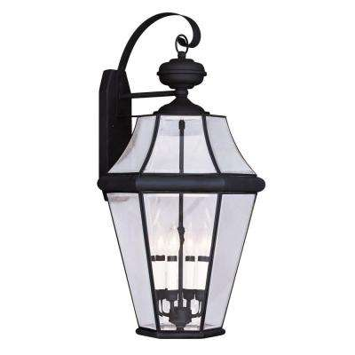 4-Light Black Outdoor Wall Lantern with Clear Beveled Glass